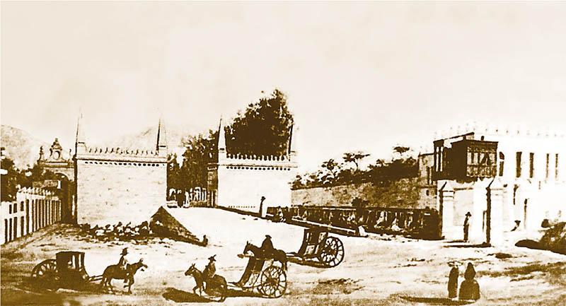 Calesas circulando por el Paseo de Aguas hacia 1830