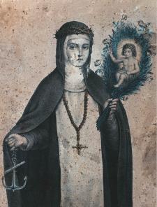 Litografía anónima del siglo XIX que perteneció a nuestro héroe, elalmirante Miguel Grau. Muestra a Rosa portando la guirnalda con el Niño Jesús y con la mano derecha sujeta el ancla, símbolo de laesperanza en la salvación. Siglo XIX.
