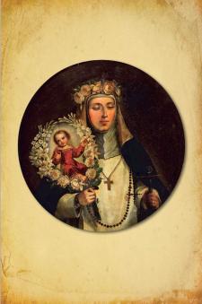 Rosa portando la guirnalda en cuyo interior se encuentra el NiñoJesús. Anónimo. Óleo sobre lienzo. Siglos XVIII y XIX. Crédito: Capilla de los Santos  Peruanos. Basílica Catedral de Lima.