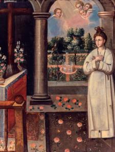 Rosa asceta: durmiendo de pie con su cabellera atada a un clavo. Anónimo.Siglo XVIII. Óleo sobre lienzo. Crédito: Monasterio de Santa Rosa de Santa María, Lima.