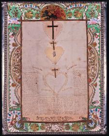 Las Mercedes son gráficos en forma de corazón que emplea santa Rosa para acercarse gradualmente a Dios. Manuscrito hológrafo de santa Rosa de Lima. Siglo XVII. Crédito: Monasterio de Santa Rosa de Santa María, Lima.
