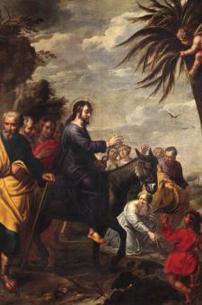 """""""Entrada de Jesús en Jerusalén"""". Pedro Pablo Rubens, siglo XVII. Crédito: Pinacoteca de la Venerable Orden Tercera de San Francisco de Lima."""