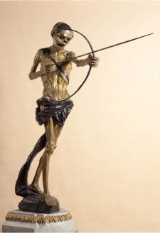 """La talla en madera """"Arquero de la muerte"""", de Baltazar Gavilán, recorrió el Centro Histórico de Lima en la Semana Santa de 1997, después de cien años. Crédito: Convento de San Agustín. Fotografía: Daniel Giannoni."""