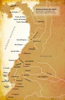 Esta es la costa recorrida por Pizarro y su gente. Crédito: Detalle del mapa del Perú. Historia de la conquista del Perú, Londres: Richard Bentley (ed). Biblioteca Nacional del Perú.