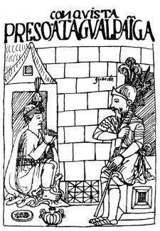 Atahualpa y Pizarro se entendieron bien durante los meses de cautiverio. Crédito: Diálogo entre Pizarro y Atahualpa por Guamán Poma de Ayala, ca. 1615, para El primer nueva corónica i buen gobierno.