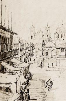 Al fondo el arco del puente, y sobre la izquierda los balcones del Cabildo de Lima, con los puestos de los escribanos y tinterillos en sus portales bajos. Crédito: Léonce Angrand, Imagen del Perú en el siglo XIX. Ed. Carlos Milla Batres. Barcelona: 1972.