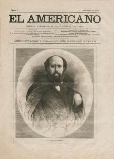 Portada de El Americano, n. 50.París, 10 de marzo de 1873. Colección Luis Eduardo Wuffarden. Crédito: Fotografía de Naomi Miranda.