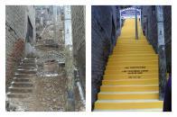 Impresionante transformación de un pasaje tras la construcción de una escalera solidaria en el Asentamiento Humano 30 de Agosto, en Villa María del Triunfo.