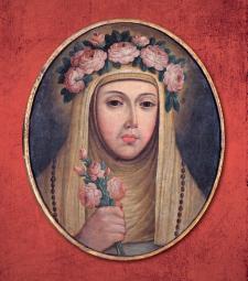 La representación plástica de santa Rosa suele mostrarla de regular estatura y bello rostro. Anónimo limeño. Siglo XVIII. Crédito: Convento de SanFrancisco.
