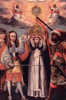 Santa Rosa, con el rey Carlos II, defiende la Eucaristía frente a los infieles representados como musulmanes. Crédito: Anónimo. Escuela cusqueña. Siglo XVIII. Óleo sobre lienzo. Crédito: Museo de Osma, Lima.