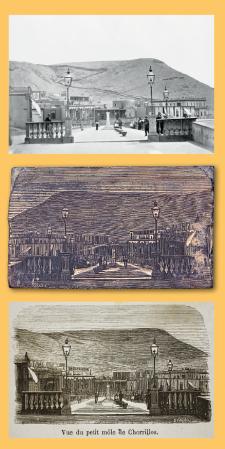 """Malecón de Chorrillos. Fotografía de 1865, madera xilográfica elaborada en París y grabado del libro """"Lima. Apuntes históricos, descriptivos, estadísticos y de costumbres"""", de Manuel Atanasio Fuentes, impreso en Francia en 1866. Crédito: Fotografía de Courret, 1865. BNP."""