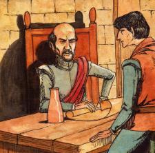 Garcilaso fungió de secretario de su padre y de escribiente de sucorrespondencia. Crédito: Omar Zevallos Velarde, ilustración hecha para esta edición.