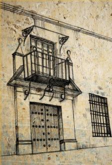 Su hogar en Montilla. En este lugar, el Inca Garcilaso vivió, con algunas interrupciones, durante 30 años. Crédito: La casa de Montilla. Omar Zevallos Velarde, ilustración hecha para esta edición.